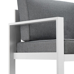 Baltic Outdoor 3-Seat Sofa - White Aluminum Frame with Gray Cushions - Soothing Company