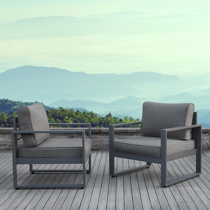 Baltic Outdoor Chair Set - Black Aluminum Frame with Gray Cushions - Soothing Company