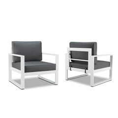 Baltic Outdoor Chair Set - White Aluminum Frame with Gray Cushions - Soothing Company