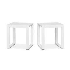 Baltic Outdoor End Tables - Set of Two in White - Soothing Company