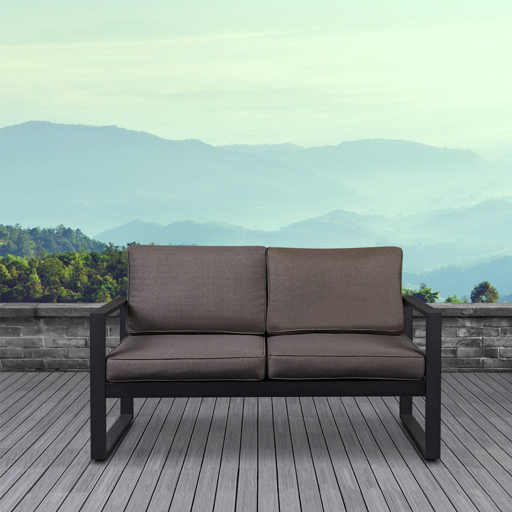 Baltic Outdoor Love Seat - Black Aluminum Frame with Desert Brown Cushions - Soothing Company