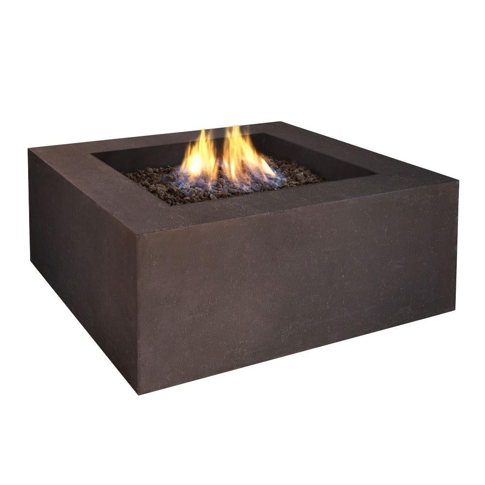 Baltic Square Natural Gas Fire Table in Kodiak Brown - Soothing Company