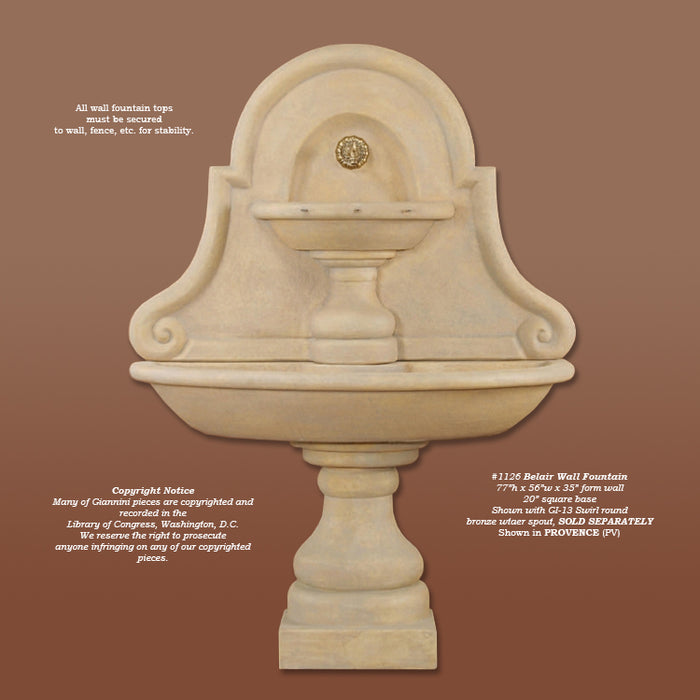 Belair Wall Outdoor Water Fountain For Spout - Soothing Company