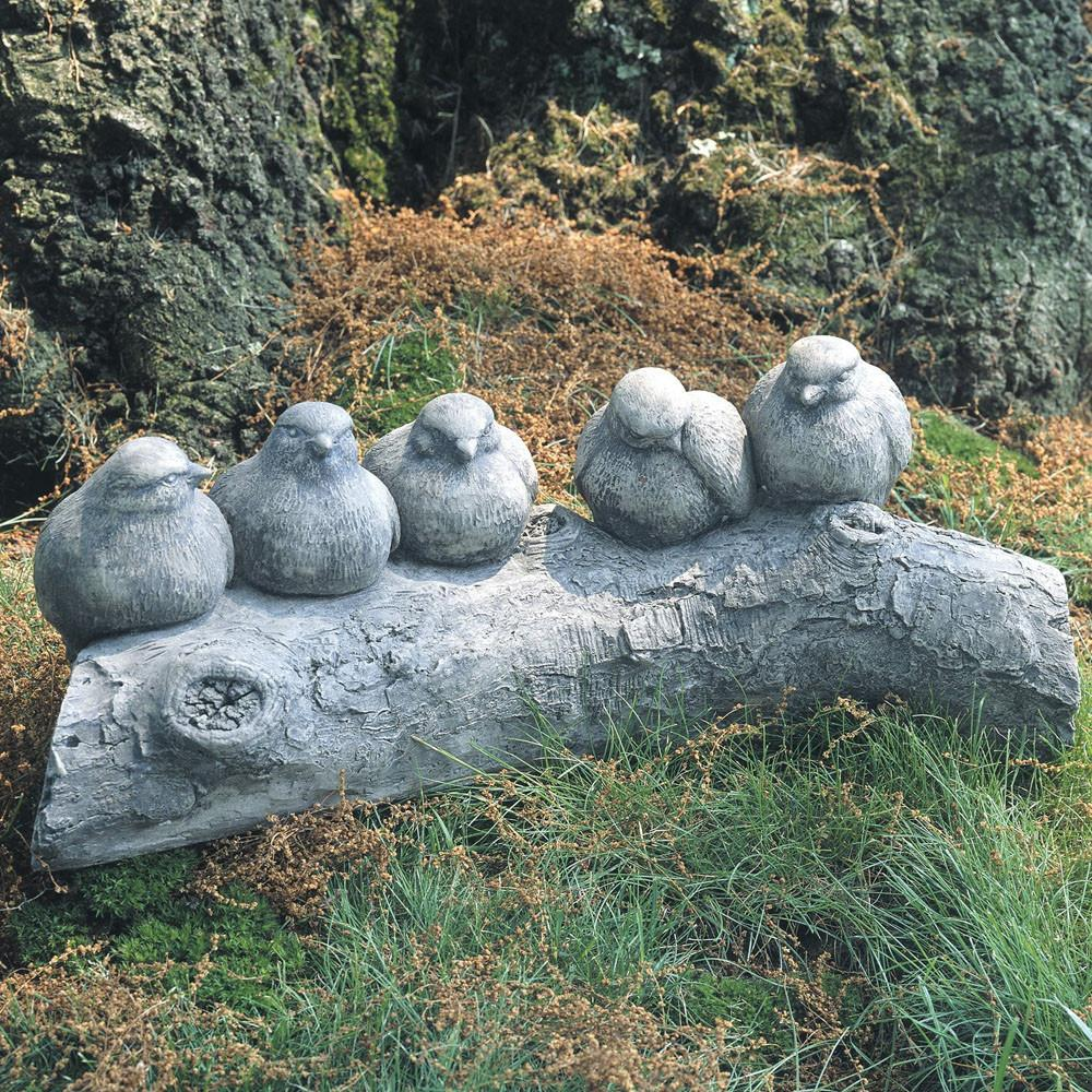 Birds on a Log Cast Stone Garden Statue - Soothing Company
