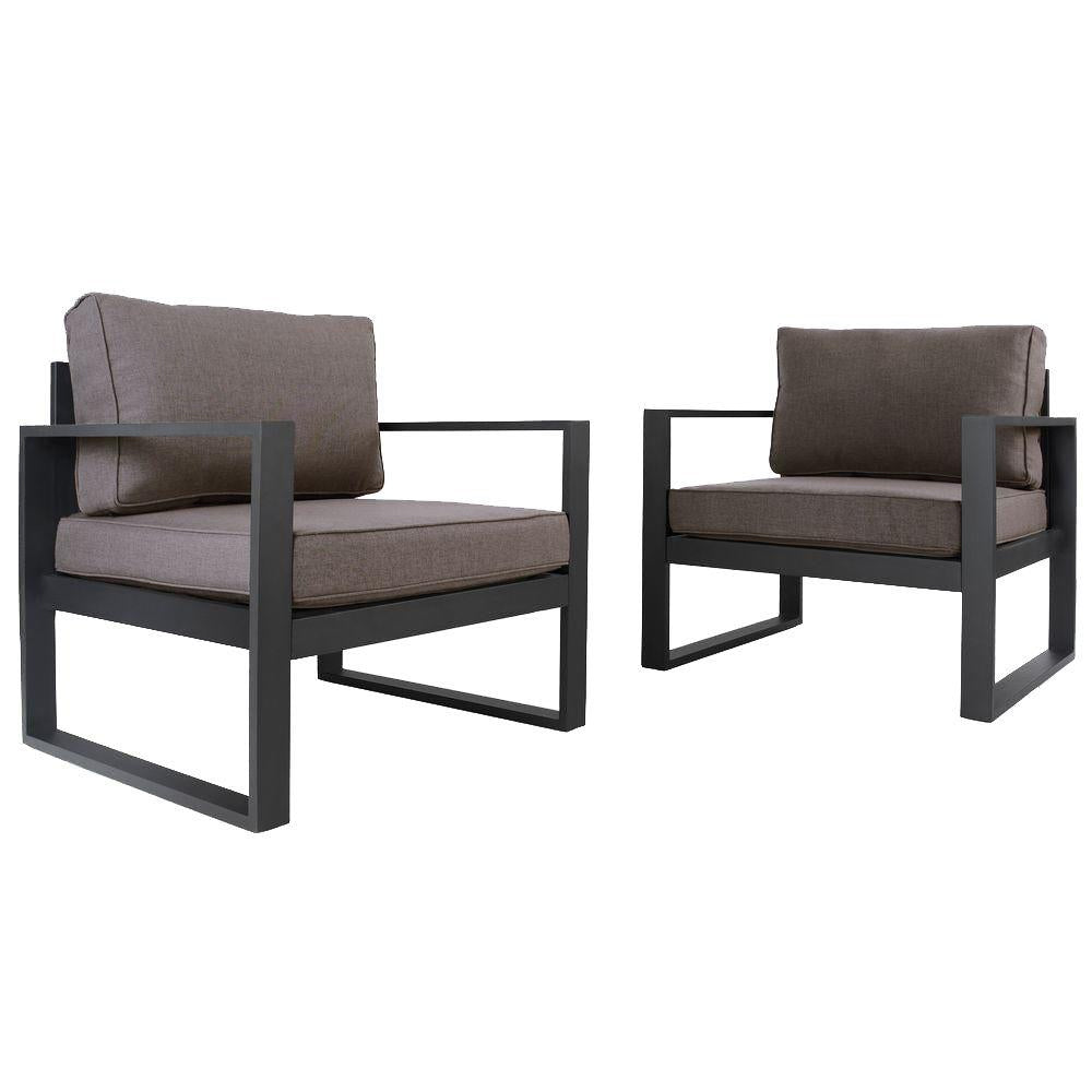 Baltic Outdoor Chair Set - Black Aluminum Frame with Desert Brown Cushions - Soothing Company
