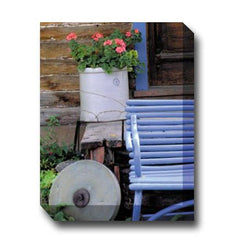 Blue Bench & Crock Outdoor Canvas Art - Outdoor Art Pros