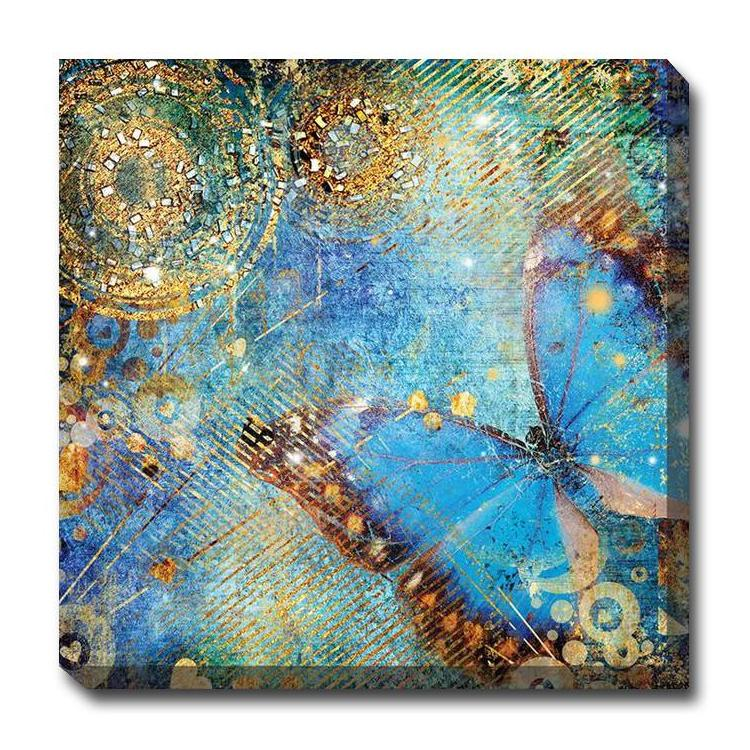 Blue Butterfly Outdoor Canvas Art - Outdoor Art Pros