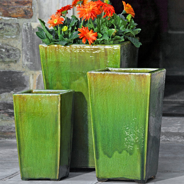 Borneo Planter Set of 3 in Highland Moss Glaze - Soothing Company