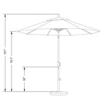 California 9' Patio Umbrella with Crank Lift and Push Button Tilt  - Soothing Company
