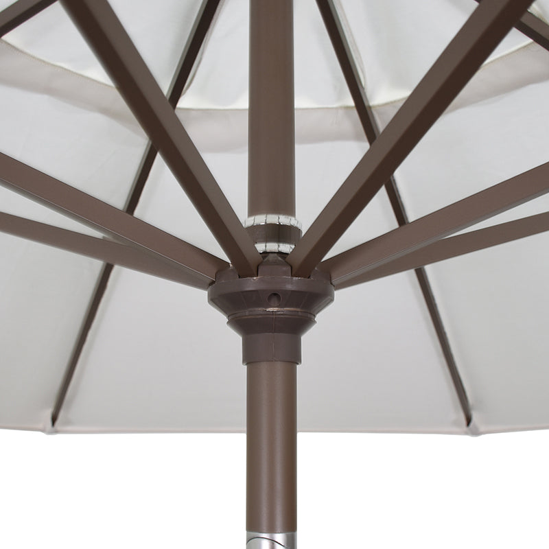 California 9' Patio Umbrella with Push Button Tilt and Crank Lift in Olefin Fabric and Bronze Pole