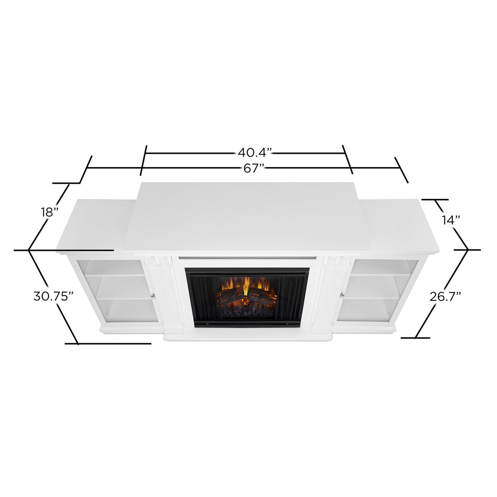 Calie Entertainment Center Electric Fireplace in White - Soothing Company