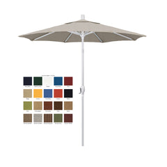California 7.5' Patio Umbrella with Push Button Tilt and Crank Lift with Olefin Fabric and White Pole
