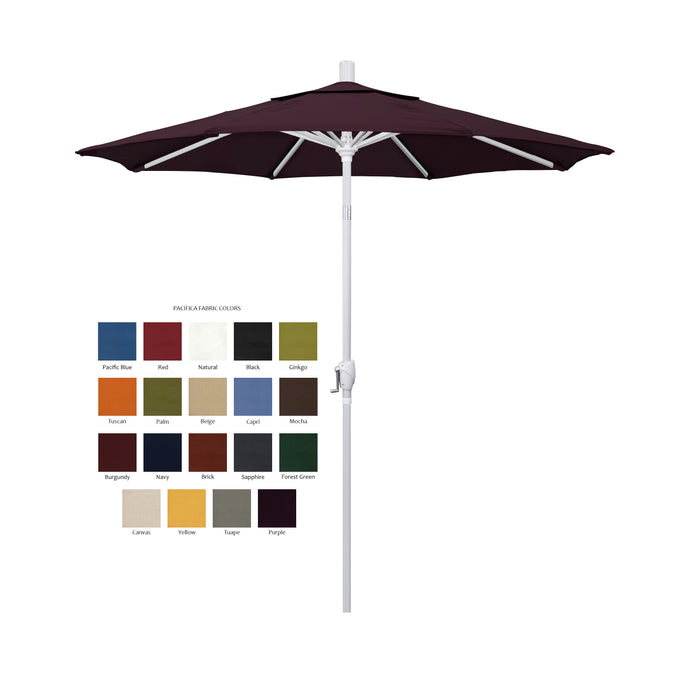 California 7.5' Patio Umbrella with Push Button Tilt and Crank Lift with Pacifica Fabric and White Pole - Soothing Company