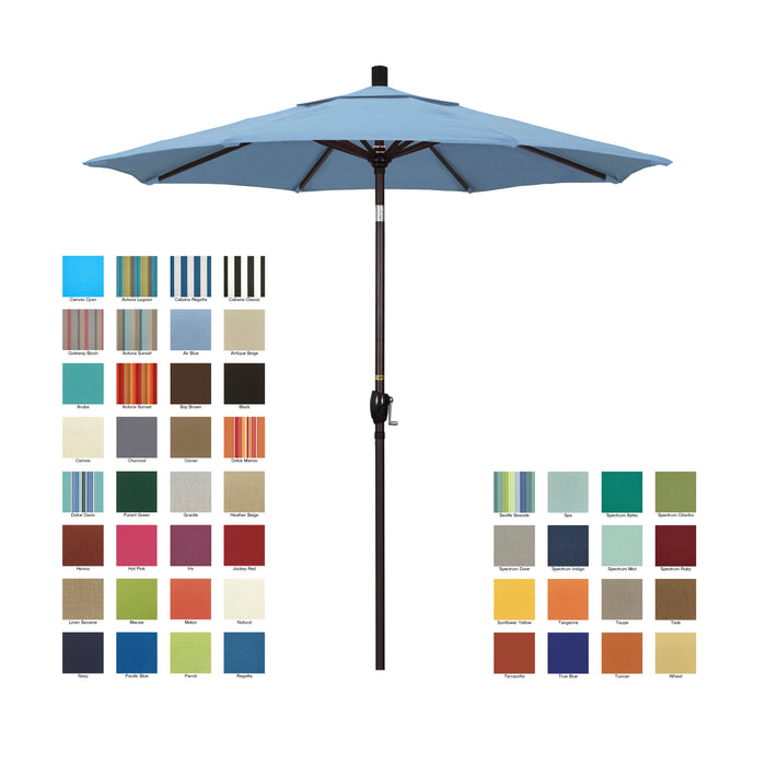 California 7.5' Patio Umbrella with Push Button Tilt and Crank Lift with Sunbrella Fabric and Bronze Pole - Soothing Company