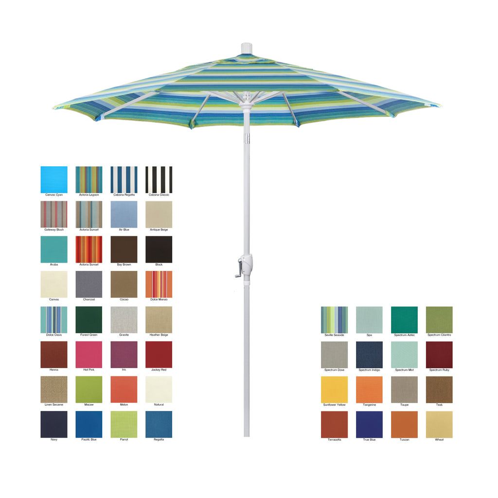 California 7.5' Patio Umbrella with Push Button Tilt and Crank Lift with Sunbrella Fabric and White Pole - Soothing Company