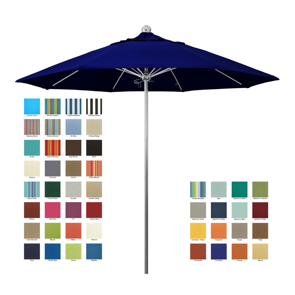 California 9' Allure Luxy Series Patio Umbrella in Sunbrella Fabric - Soothing Company