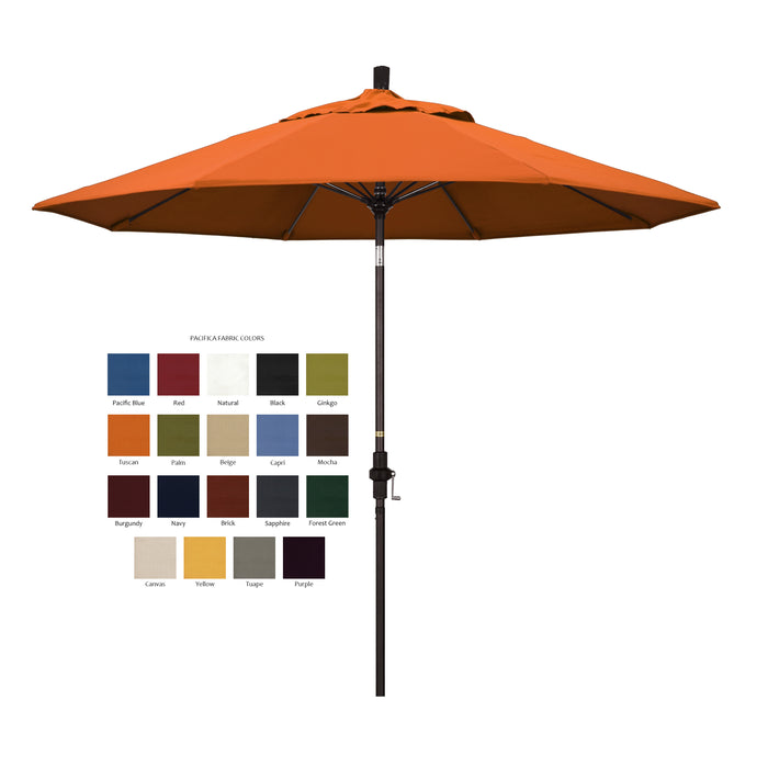 California 9' Patio Umbrella with Crank Lift and Collar Tilt in Pacifica Fabric and Bronze Pole - Soothing Company