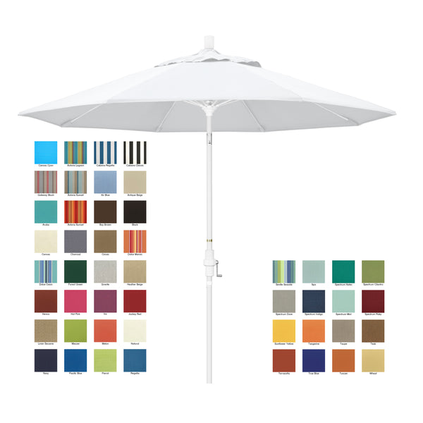 California 9' Patio Umbrella with Crank Lift and Collar Tilt in Sunbrella Fabric and Matted White Pole - Soothing Company