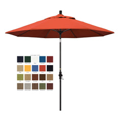 California 9' Patio Umbrella with Crank Lift and Collar Tilt with Olefin Fabric and Matted Black Pole - Soothing Company