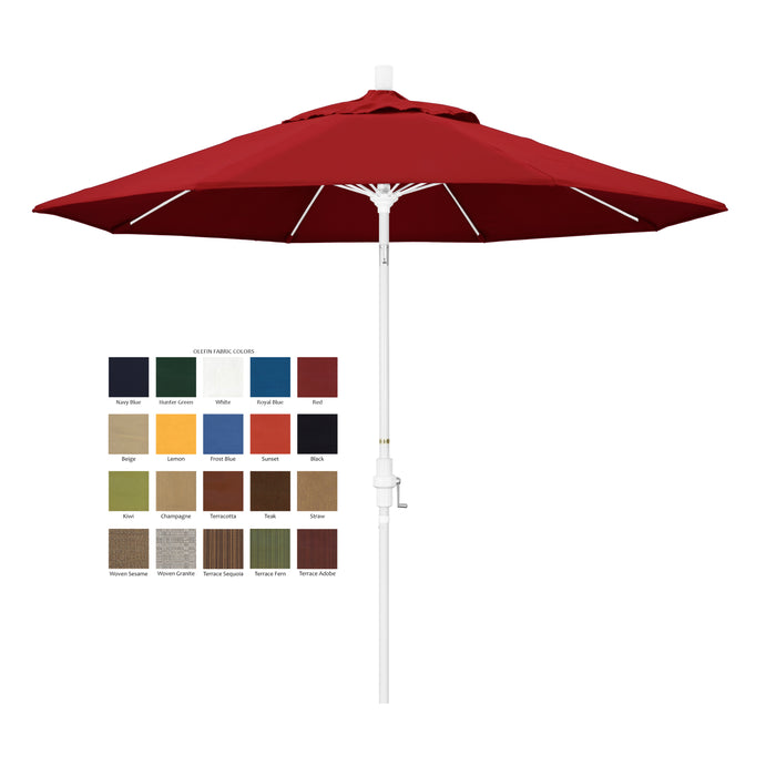 California 9' Patio Umbrella with Crank Lift and Collar Tilt with Olefin Fabric and Matted White Pole - Soothing Company