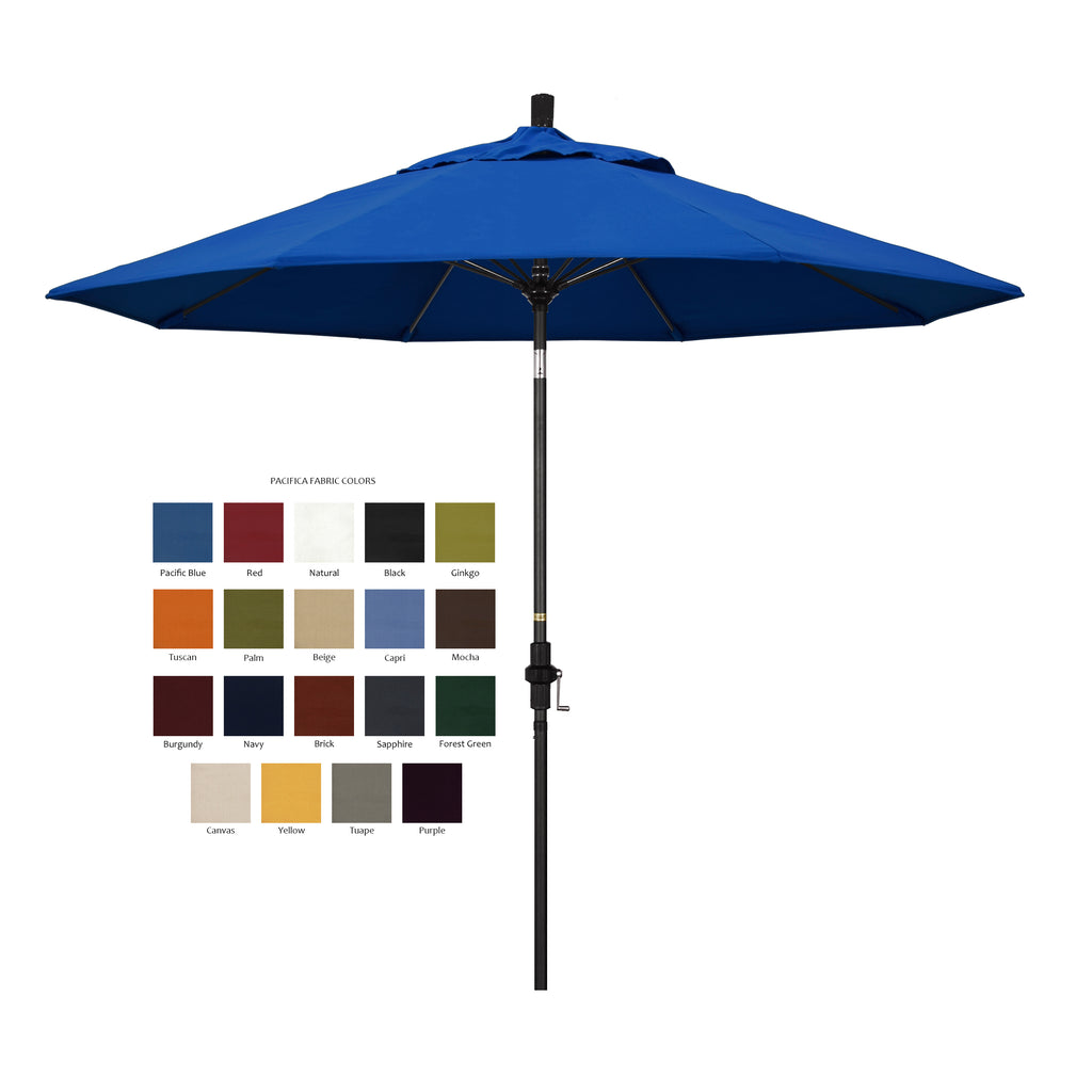 California 9u0027 Patio Umbrella With Crank Lift And Collar Tilt With Pacifica  Fabric And Matted