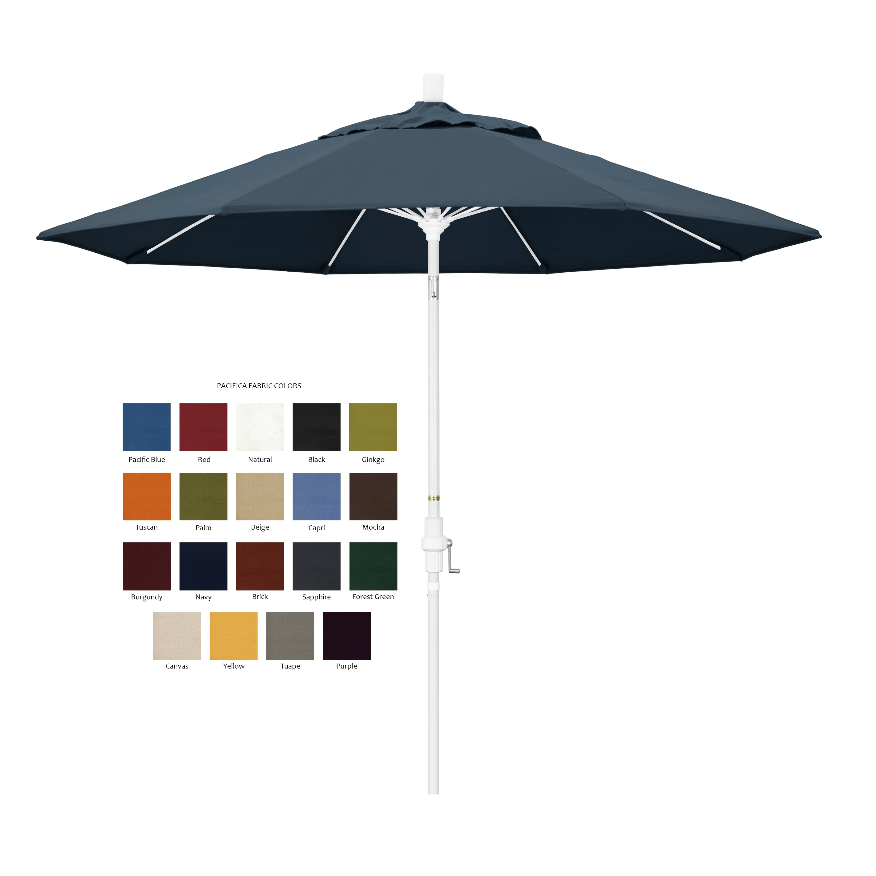 California 9 Patio Umbrella With Crank Lift And Collar Tilt With Pacifica Fabric And Matted White Pole