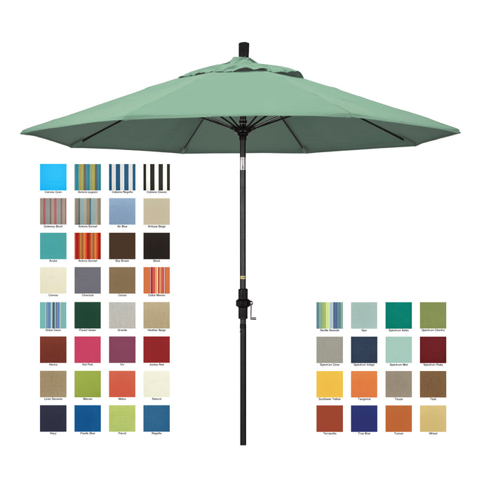 California 9' Patio Umbrella with Crank Lift and Collar Tilt with Sunbrella Fabric and Matted Black Pole - Soothing Company