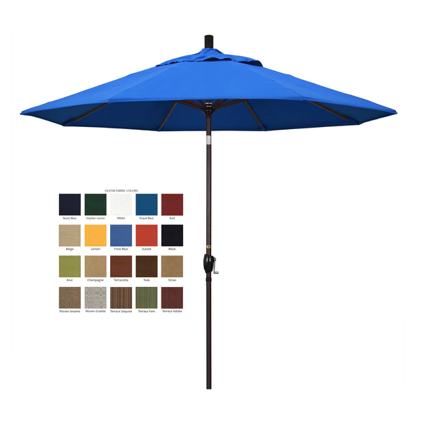 California 9' Patio Umbrella with Push Button Tilt and Crank Lift in Olefin Fabric and Bronze Pole - Soothing Company