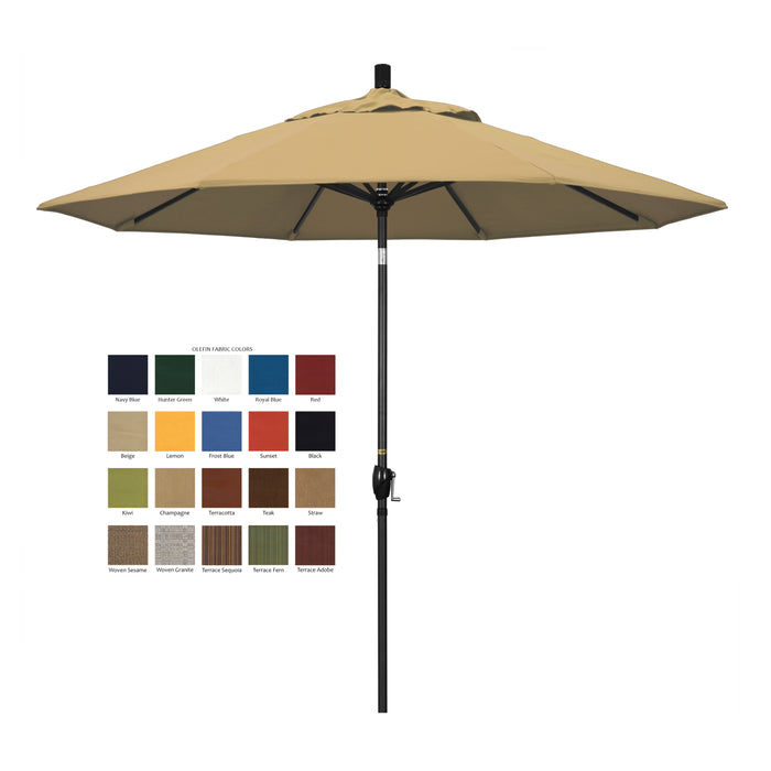 California 9' Patio Umbrella with Push Button Tilt and Crank Lift in Olefin Fabric and Stone Black Pole - Soothing Company