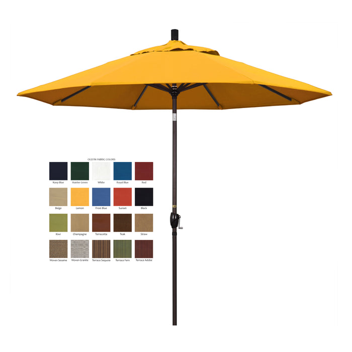 California 9' Patio Umbrella with Push Button Tilt and Crank Lift in Pacifica Fabric and Bronze Pole - Soothing Company
