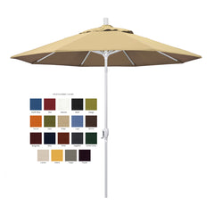 California 9' Patio Umbrella with Push Button Tilt and Crank Lift in Pacifica Fabric and Matted White Pole - Soothing Company