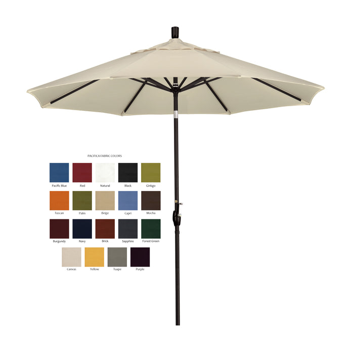 California 9' Patio Umbrella with Push Button Tilt and Crank Lift in Pacifica Fabric and Stone Black Pole - Soothing Company
