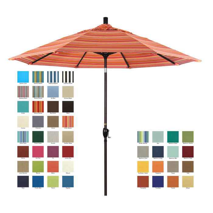 California 9' Patio Umbrella with Push Button Tilt and Crank Lift in Sunbrella Fabric and Bronze Pole - Soothing Company