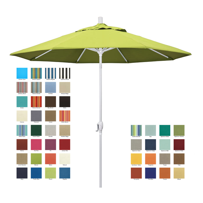 California 9' Patio Umbrella with Push Button Tilt and Crank Lift in Sunbrella Fabric and Matted White Pole - Soothing Company