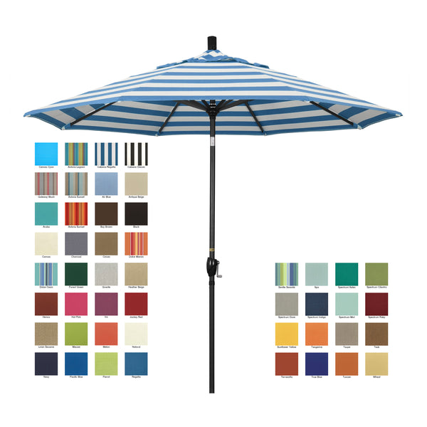 California 9' Patio Umbrella with Push Button Tilt and Crank Lift in Sunbrella Fabric and Stone Black Pole - Soothing Company