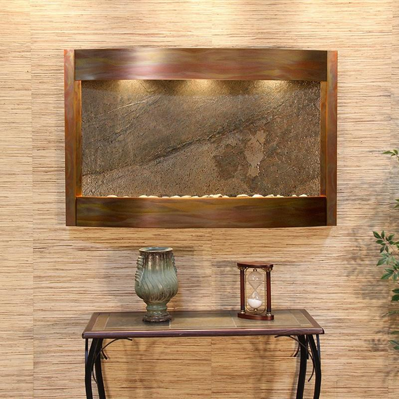 Calming Waters: Green FeatherStone and Rustic Copper Trim