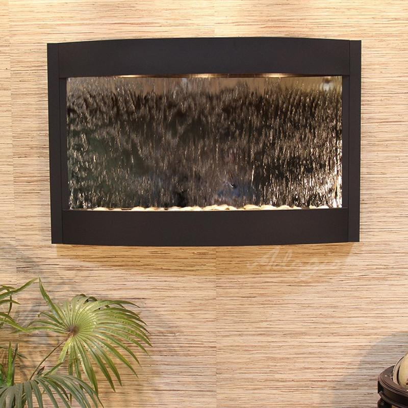 Calming Waters: Silver Mirror and Textured Black Trim