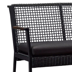 Calvin Patio Love Seat with Cushions in Black - Soothing Company