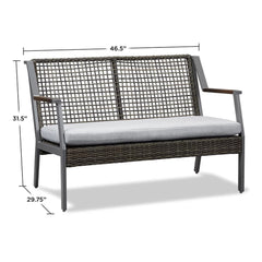 Calvin Patio Love Seat with Cushions in Gray - Soothing Company