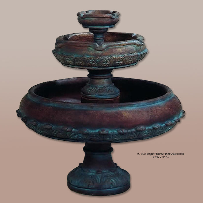 Capri Three Tier Outdoor Water Fountain - Soothing Company