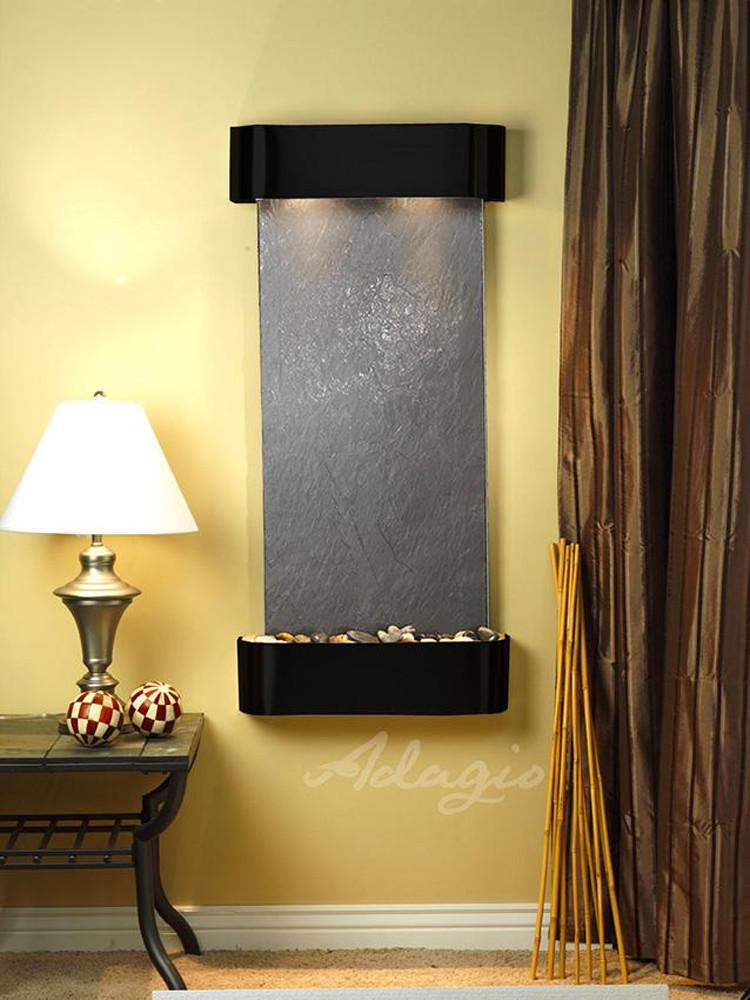 Cascade Springs: Black FeatherStone and Blackened Copper Trim with Rounded Corners