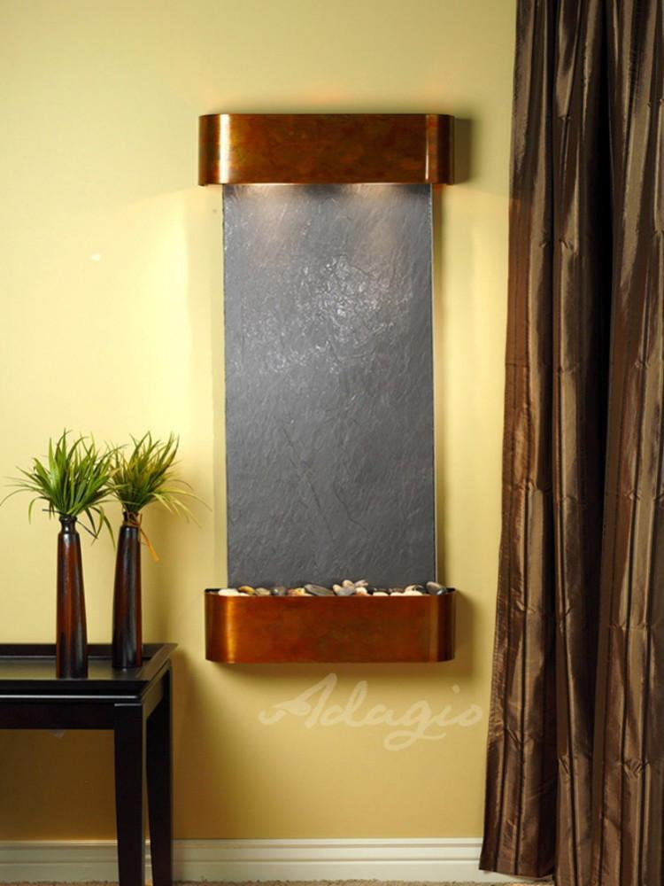 Cascade Springs: Black FeatherStone and Rustic Copper Trim with Rounded Corners