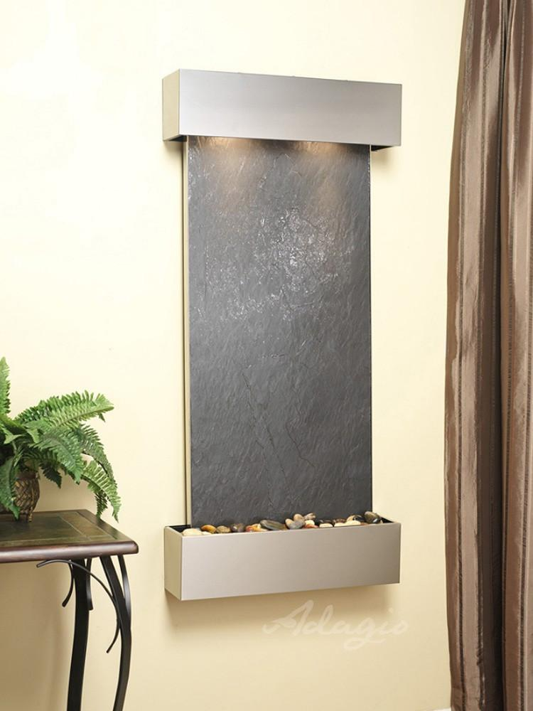 Cascade Springs: Black FeatherStone and Stainless Steel Trim with Squared Corners