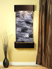 Cascade Springs: Black Spider Marble and Blackened Copper Trim with Rounded Corners