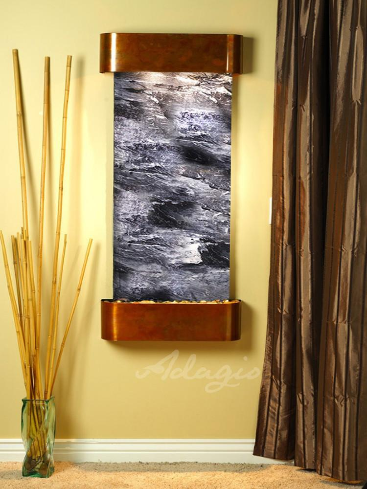 Cascade Springs: Black Spider Marble and Rustic Copper Trim with Rounded Corners