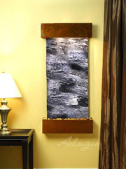 Cascade Springs : Black Spider Marble and Rustic Copper Trim with Squared Corners