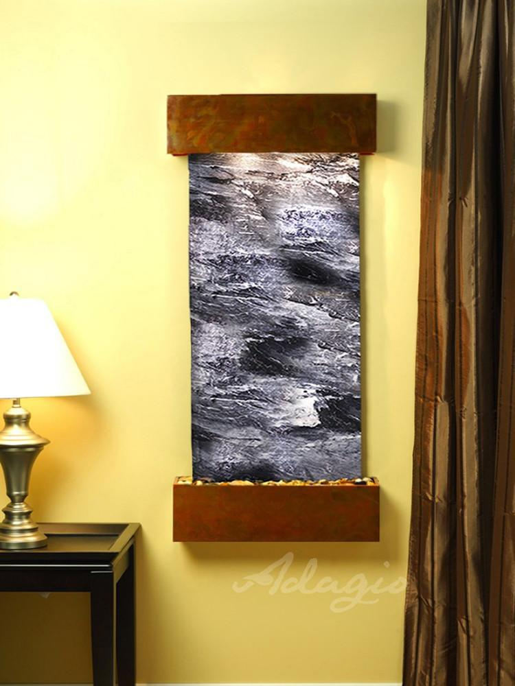 Cascade Springs:  Black Spider Marble and Rustic Copper Trim with Squared Corners