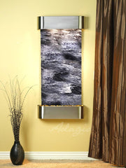 Cascade Springs: Black Spider Marble and Stainless Steel Trim with Rounded Corners