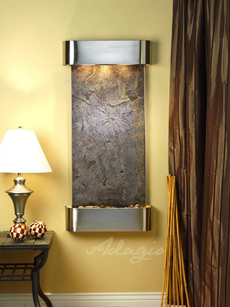 Cascade Springs: Green FeatherStone and Stainless Steel Trim with Rounded Corners