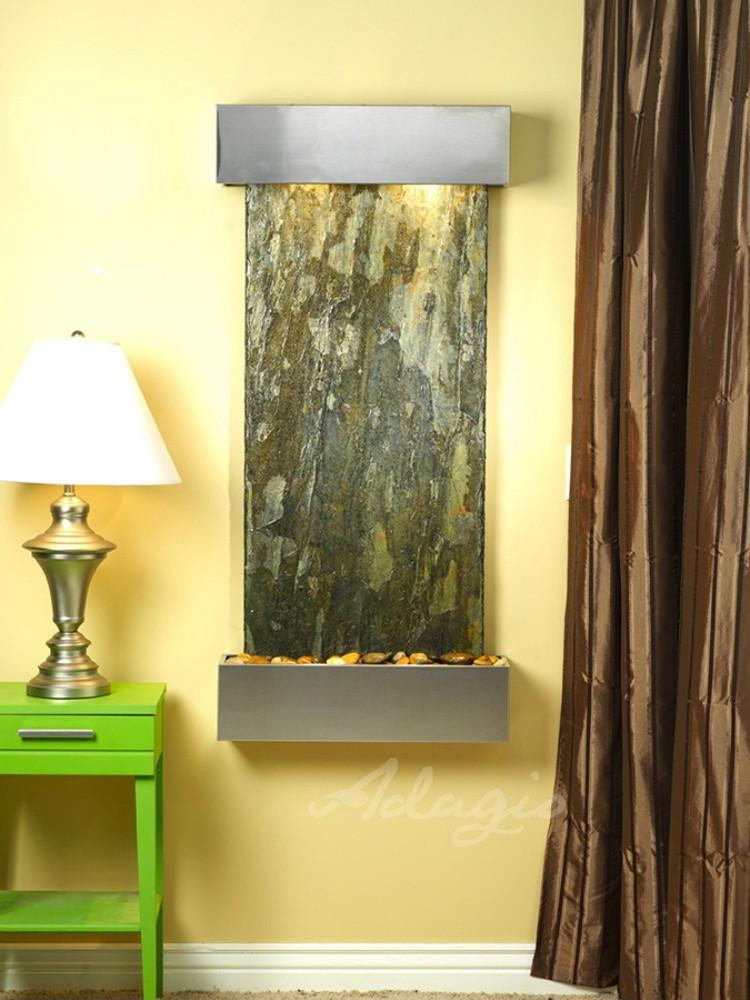 Cascade Springs: Green Slate and Stainless Steel Trim with Squared Corners